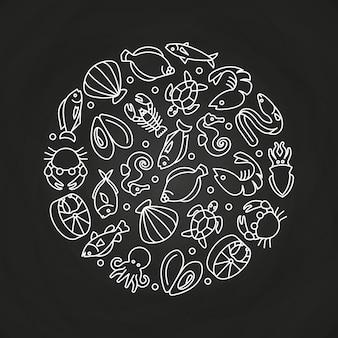 Sealife blanc icônes linéaires rond concept
