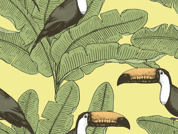 Seamles vintage tropical pattern with leaves, hand drawn or enrgaved. feuilles et plantes d'aspect vintage