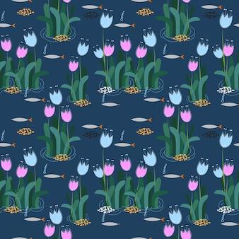 Seamless floral abstrait et surface de poisson de fond