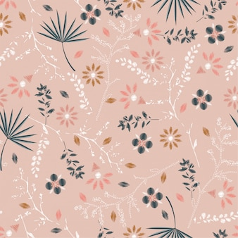 Seamless floral pattern de broderie pastel