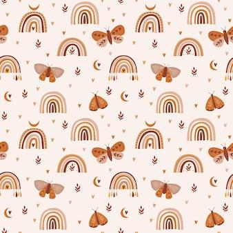 Seamless, modèle, à, boho, arcs-en-ciel, libellules, fleurs, et, papillons