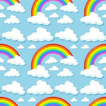 Seamless avec des nuages et des arcs en ciel