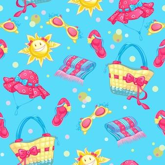 Seamless pattern avec accessoires de plage et soleil