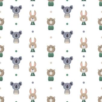 Seamless pattern avec des animaux marrants