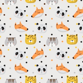 Seamless pattern d'animaux mignons