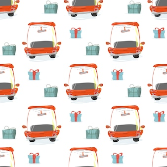 Seamless pattern avec des boîtes-cadeaux et des voitures rouges