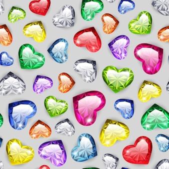 Seamless pattern coeurs de gemme coloré