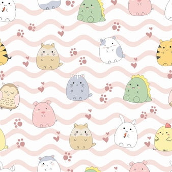 Seamless pattern dessins animés animaux mignons