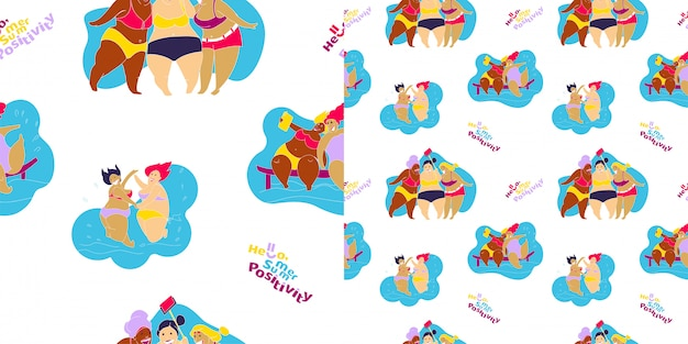 Seamless pattern happy fat girl sur la plage