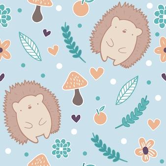 Seamless pattern de hérissons automne mignons