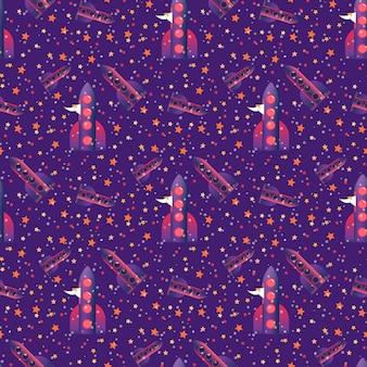 Seamless pattern avec homme prépare à voler sur la fusée et les étoiles placées au hasard