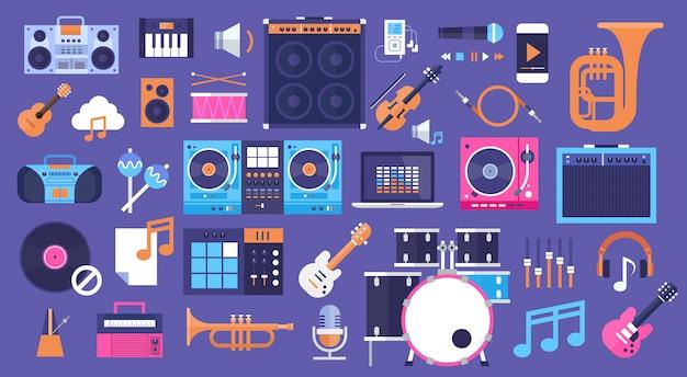 Seamless pattern instruments de musique et icônes de l'électronique d'équipement