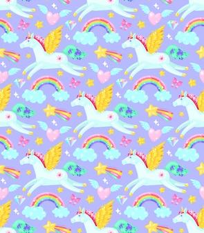 Seamless pattern avec des licornes