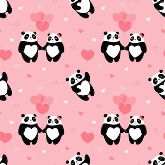 Seamless pattern mignon, pandas, coeurs, amoureux, cadeau, valentine, ours vole dans un ballon, hiver, saint valentin.
