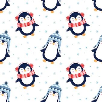 Seamless pattern mignon, pingouins, neige, flocons de neige, hiver.