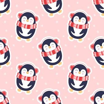 Seamless pattern mignon, pingouins, neige, flocons de neige.