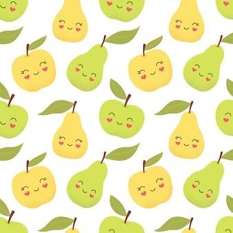 Seamless pattern mignon, pommes et poires drôles.
