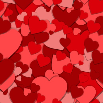 Seamless pattern red paper hearts valentines day background
