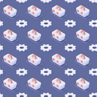 Seamless pattern avec roues dentées et boîte à outils