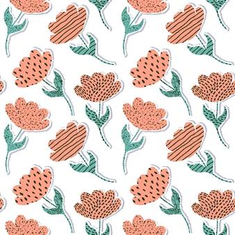Seamless pattern avec des tulipes en papier