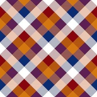 Seamless pattern de vérification diagonale rouge orange bleu blanc