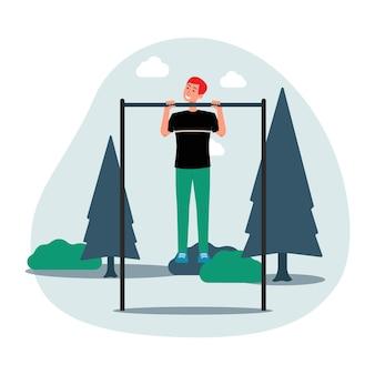 Séance d'entraînement avec l'homme tire sur la barre dans l'illustration de vecteur plat parc isolé
