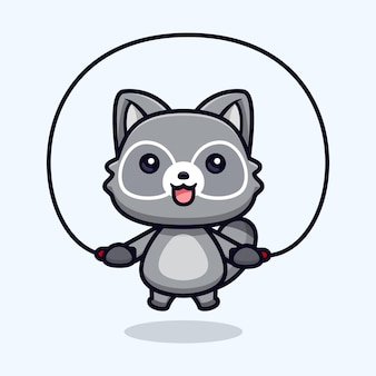 Séance d'entraînement de ratons laveurs mignons à l'illustration de caractère animal de vecteur de gym