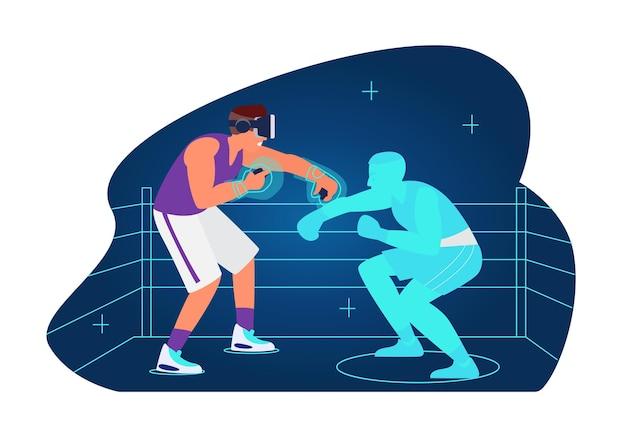 Séance d'entraînement vr et sport concept homme en boxe casque vr avec adversaire virtuel