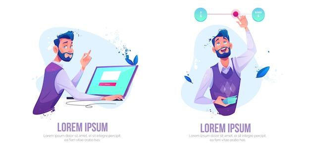 Séance homme, à, ordinateur portable, à, page web, sur, écran, confection, commande en ligne, illustration, ensemble