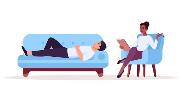 Séance de thérapie privée illustration vectorielle de couleur rvb semi-plat. rendez-vous avec le psychologue. patiente et thérapeute. consultations de psychologie. personnage de dessin animé isolé sur fond blanc