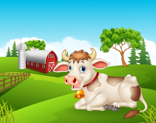 Séance de vache heureuse isolée dans la ferme