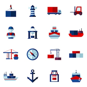 Seaport flat icons set