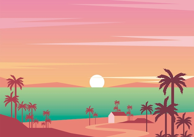 Seascape sunset aventure voyage paysage scène vector illustration design