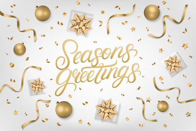 Seasons greetings lettrage écrit à la main