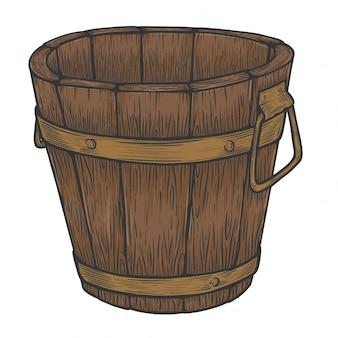 Seau en bois classique