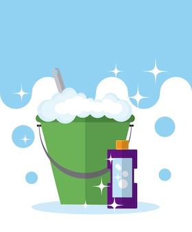 Seau et bouteille de savon vector illustration graphisme