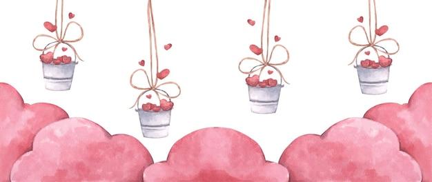 Seau avec des coeurs suspendus à une corde avec des nuages roses. illustration de l'amour et de la saint-valentin. illustration aquarelle.