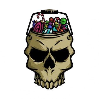 Seau de crâne halloween de bonbons