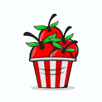 Un seau d'illustration de fruits de cerise