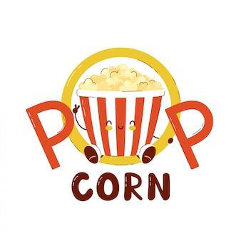 Seau mignon de pop-corn heureux isolé sur blanc. conception de cartes d'illustration vectorielle caractère personnage, style plat simple.