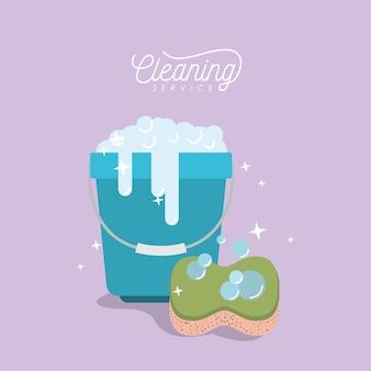 Seau avec mousse de savon et service de nettoyage des éponges