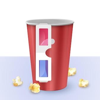 Seau à pop-corn vide et verres sur fond blanc, illustration réaliste