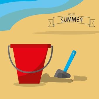 Seau de sable et été