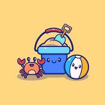 Seau de seau d'été mignon avec crabe et balle cartoon icon illustration. concept d'icône d'été isolé. style de dessin animé plat