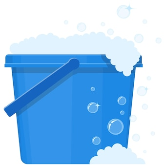 Seau de vecteur avec illustration de seau en plastique icône eau de lavage