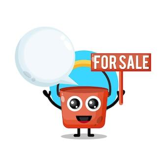 Seau à vendre mascotte de personnage mignon