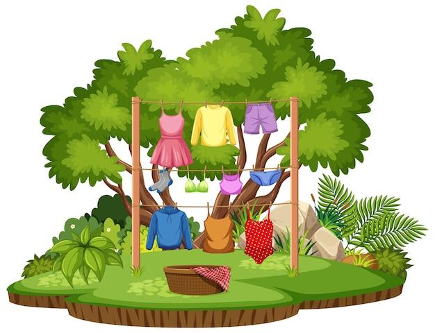 Séchage de vêtements dans une scène extérieure