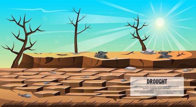 Sécheresse, catastrophe naturelle, bannière fissurée au sol.
