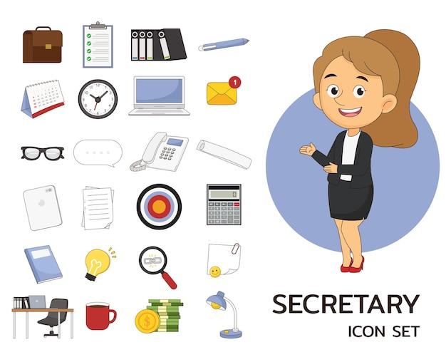Secrétaire consept icônes plates, secrétaire fille travaillant un bureau