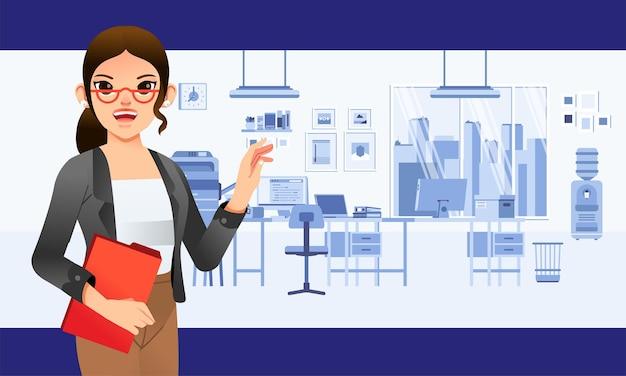 Secrétaire femme faisant une présentation au bureau avec l'intérieur du bureau en arrière-plan